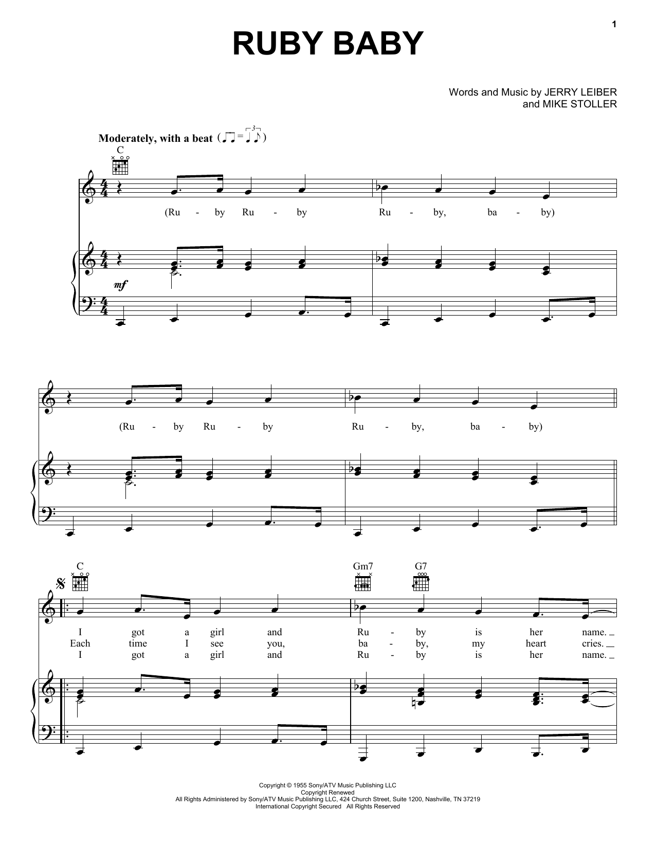 Dion Ruby Baby sheet music notes and chords
