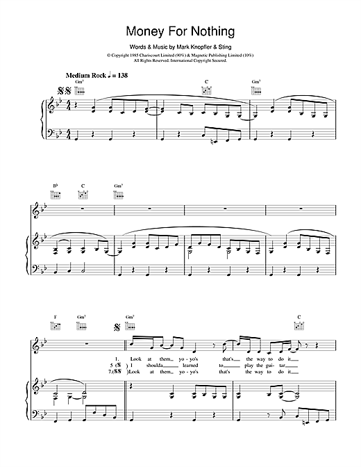 Download Dire Straits 'Money For Nothing' Digital Sheet Music Notes & Chords and start playing in minutes