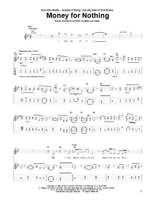 Dire Straits Money For Nothing sheet music notes and chords