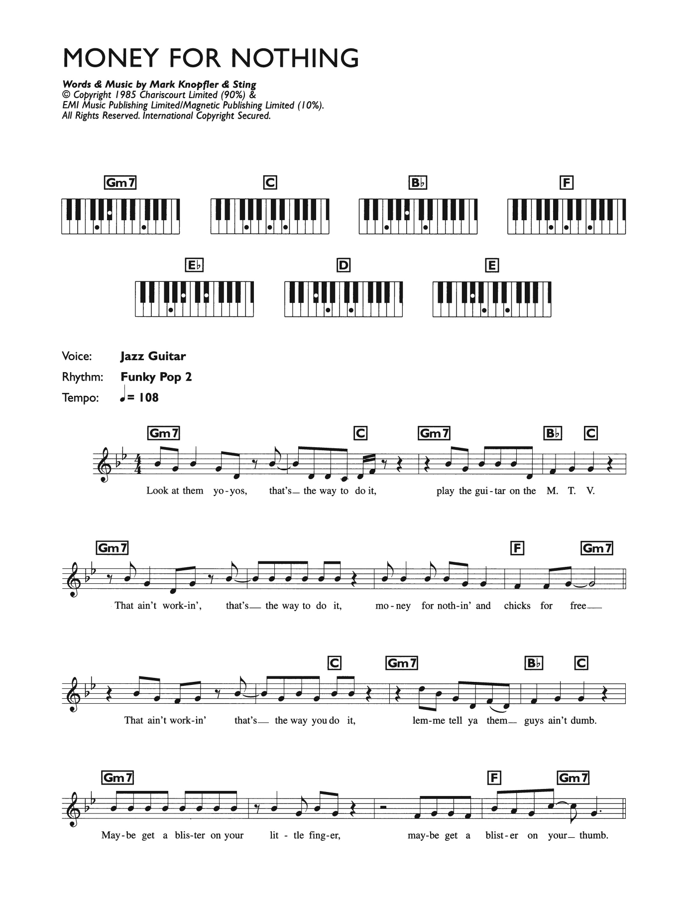 Dire Straits Money For Nothing sheet music preview music notes and score for Guitar Tab including 7 page(s)