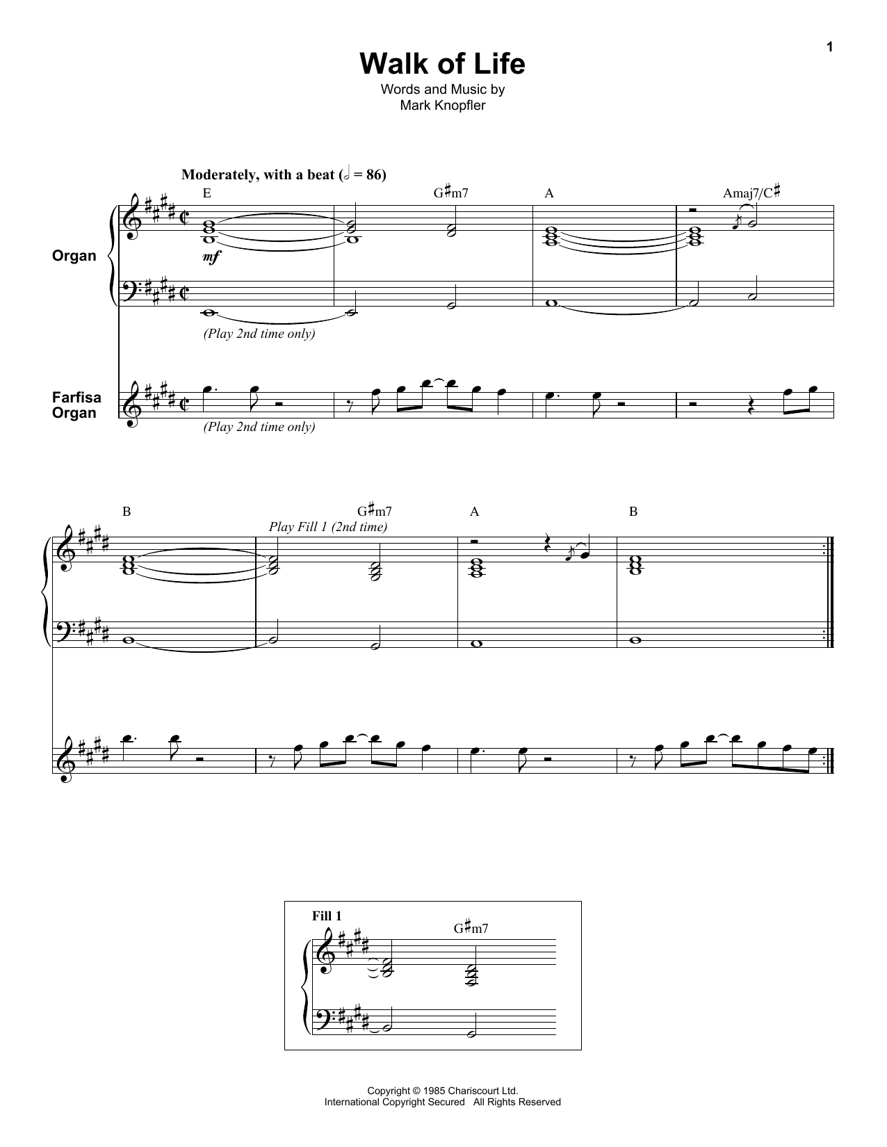 Dire Straits Walk Of Life sheet music notes and chords