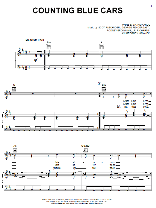 Dishwalla Counting Blue Cars sheet music preview music notes and score for Guitar Tab including 10 page(s)