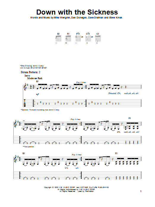 Disturbed Down With The Sickness sheet music preview music notes and score for Piano, Vocal & Guitar (Right-Hand Melody) including 7 page(s)