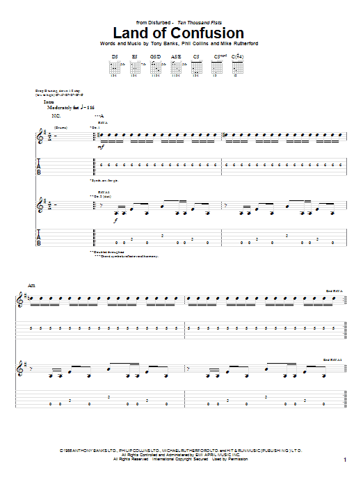 Disturbed Land Of Confusion sheet music preview music notes and score for Guitar Tab including 9 page(s)