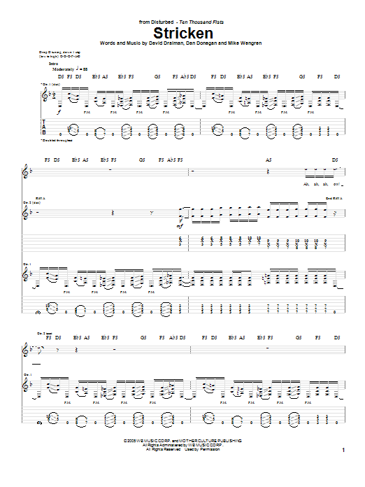 Disturbed Stricken sheet music preview music notes and score for Guitar Tab including 11 page(s)