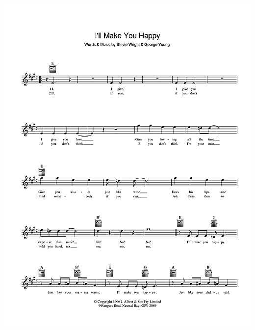 Divinyls I'll Make You Happy sheet music preview music notes and score for Melody Line, Lyrics & Chords including 2 page(s)