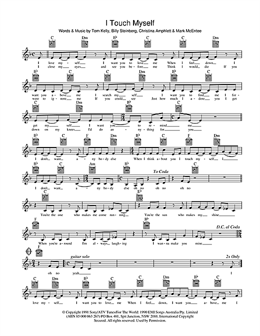 Divinyls I Touch Myself sheet music preview music notes and score for Melody Line, Lyrics & Chords including 2 page(s)