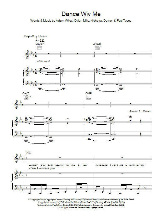 Dizzee Rascal Dance Wiv Me (feat. Calvin Harris & Chrome) sheet music preview music notes and score for Piano, Vocal & Guitar including 8 page(s)