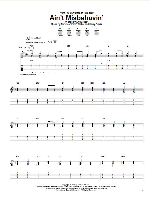 Django Reinhardt Ain't Misbehavin' sheet music notes and chords