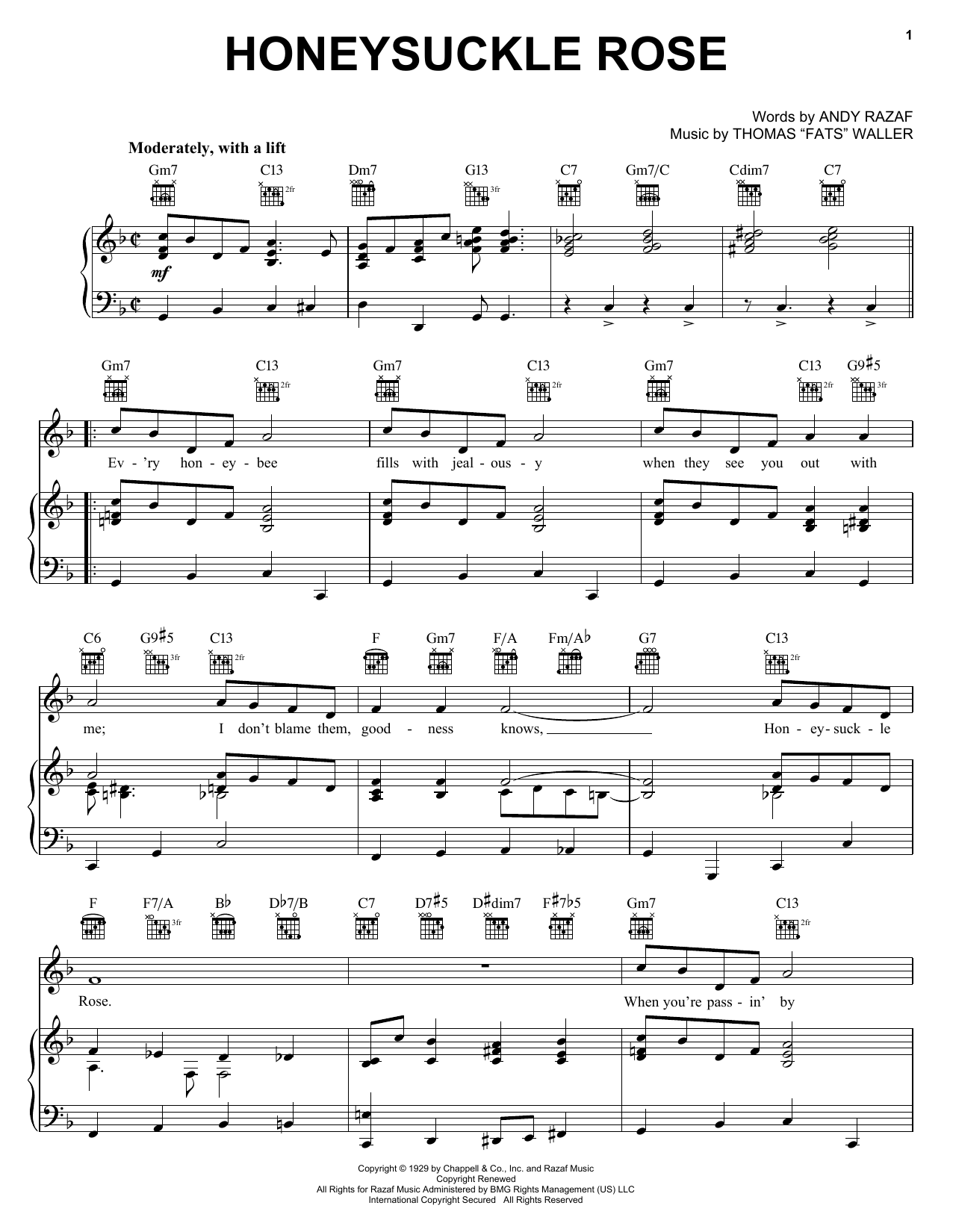 Django Reinhardt Honeysuckle Rose sheet music preview music notes and score for Piano, Vocal & Guitar (Right-Hand Melody) including 3 page(s)