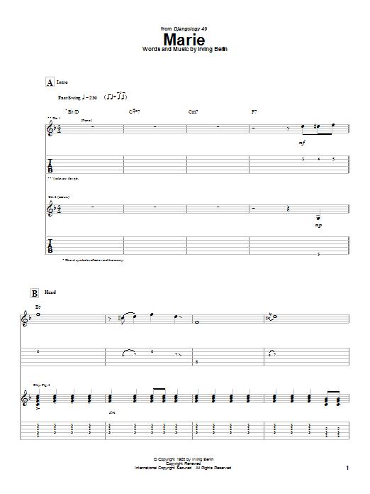 Django Reinhardt Marie sheet music notes and chords