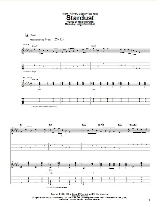 Django Reinhardt Stardust sheet music notes and chords