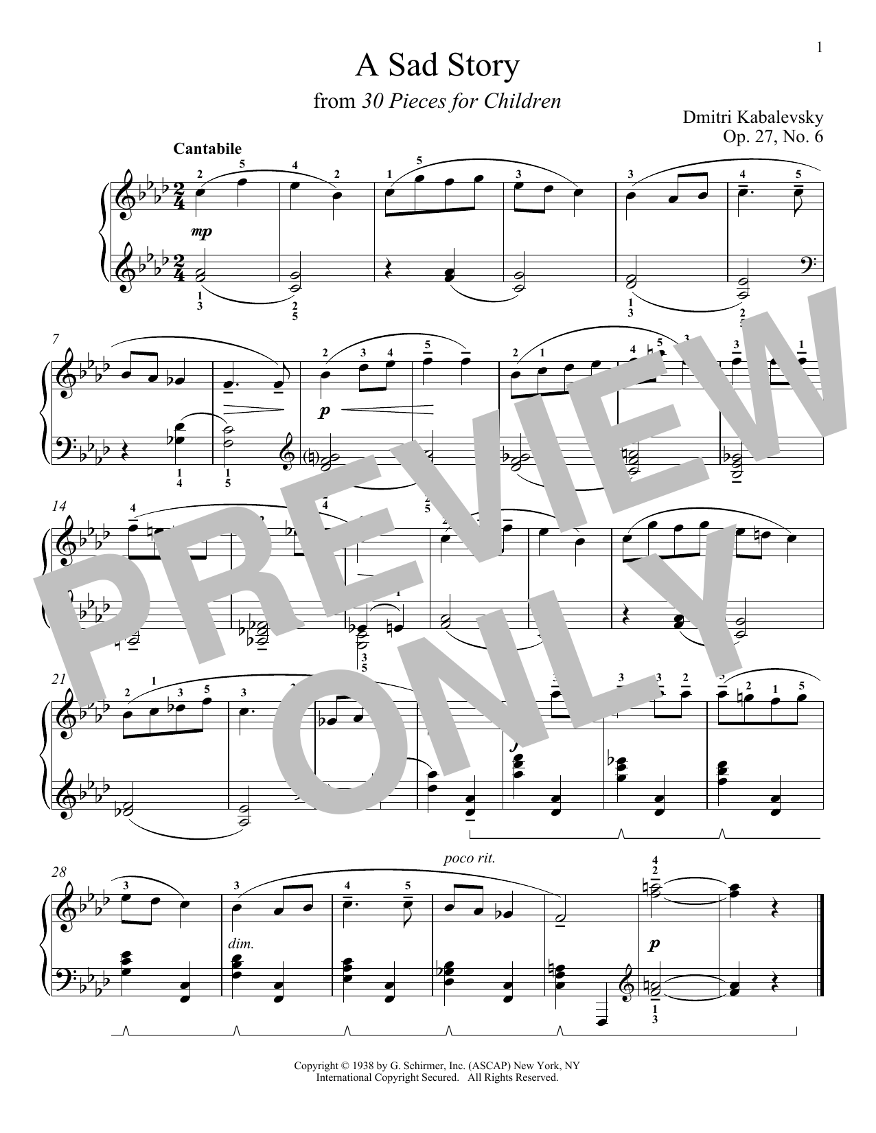 Download Dmitri Kabalevsky 'A Sad Story, Op. 27, No. 6' Digital Sheet Music Notes & Chords and start playing in minutes