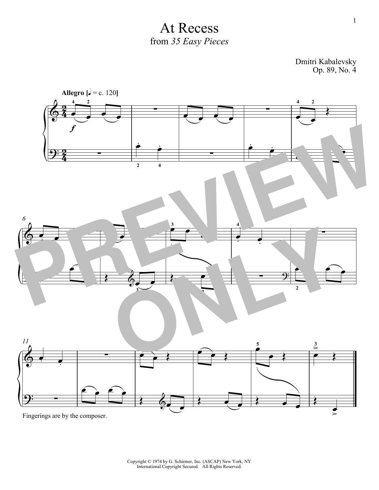 Dmitri Kabalevsky At Recess sheet music notes and chords