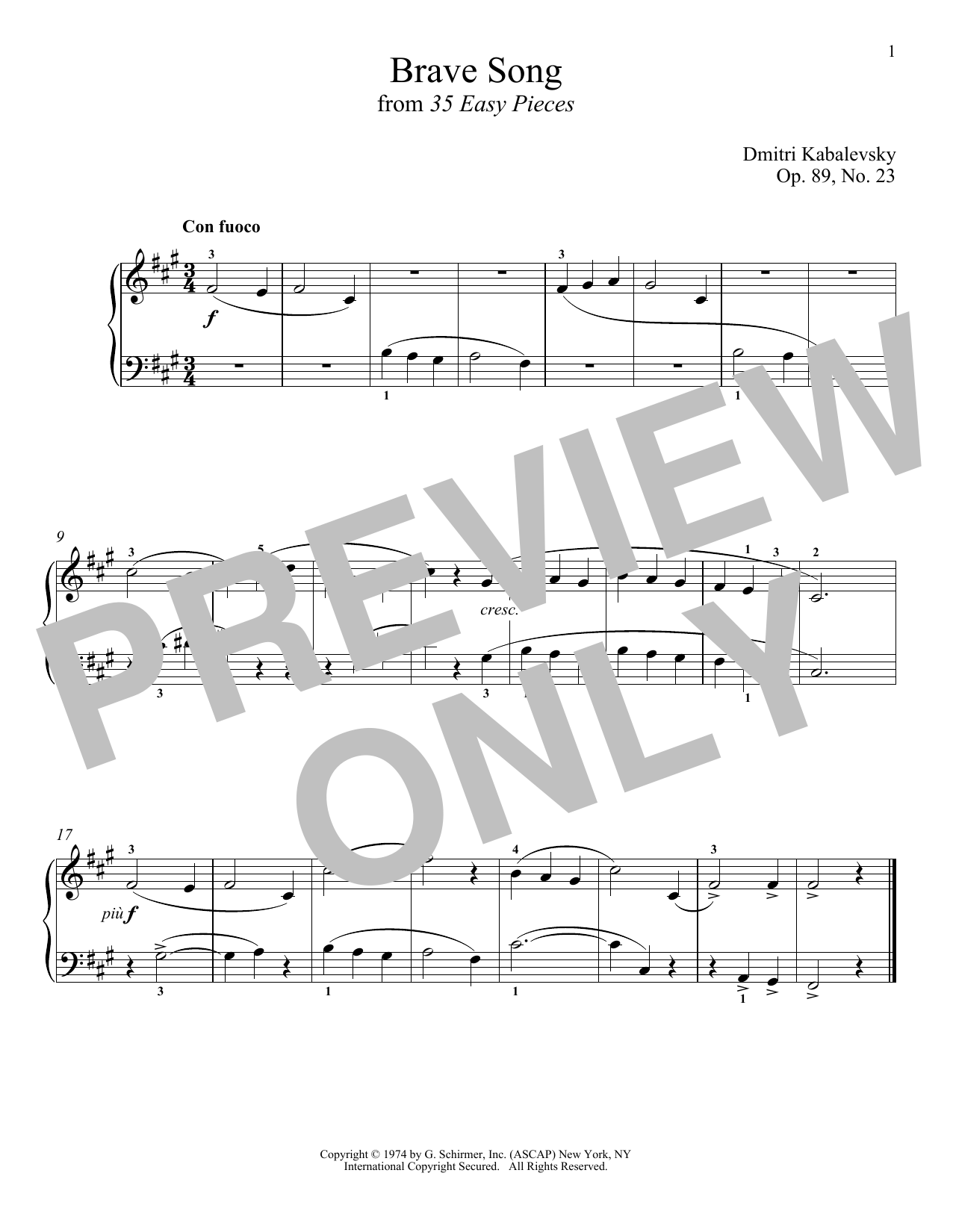 Download Dmitri Kabalevsky 'Brave Song' Digital Sheet Music Notes & Chords and start playing in minutes