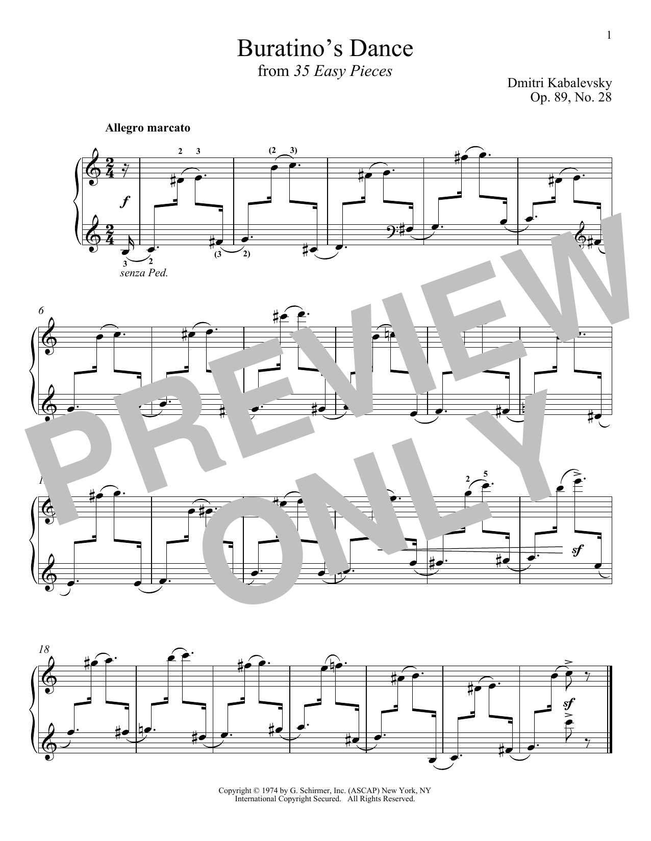 Download Dmitri Kabalevsky 'Buratino's Dance' Digital Sheet Music Notes & Chords and start playing in minutes