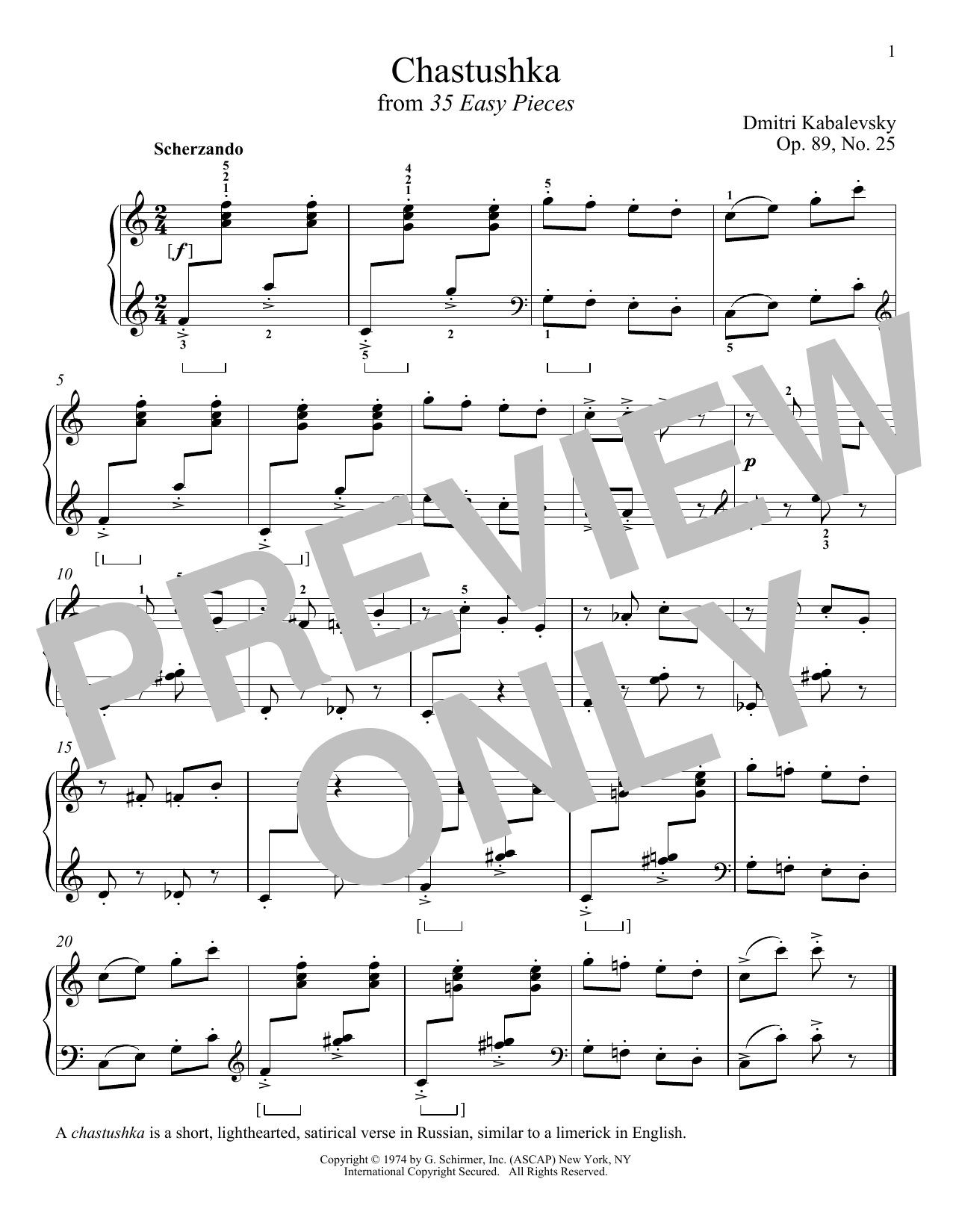 Download Dmitri Kabalevsky 'Chastushka, Op. 89, No. 25' Digital Sheet Music Notes & Chords and start playing in minutes