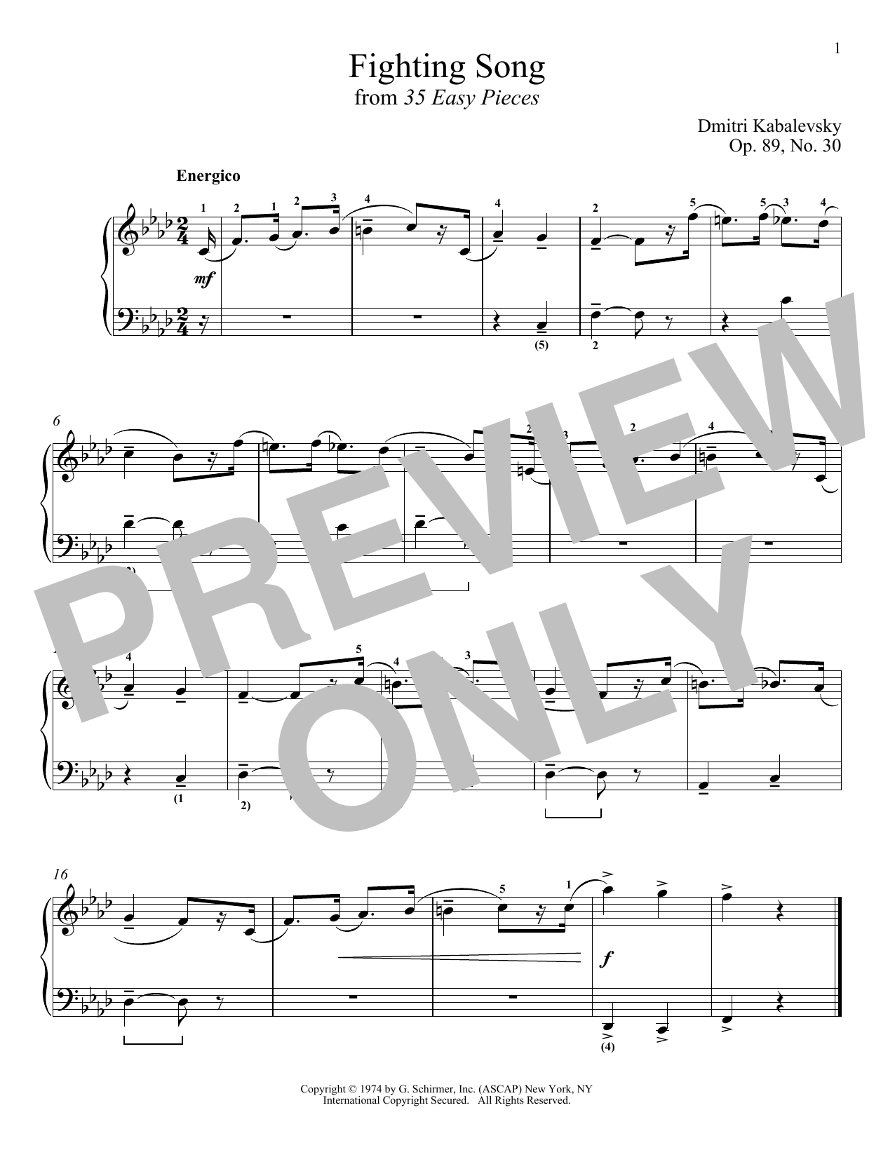 Dmitri Kabalevsky Fighting Song, Op. 89, No. 30 sheet music notes and chords