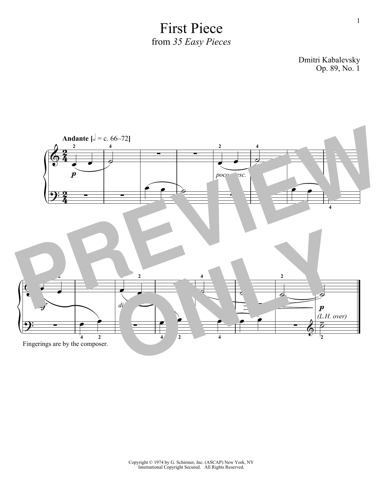 Download Dmitri Kabalevsky 'First Piece, Op. 89, No. 1' Digital Sheet Music Notes & Chords and start playing in minutes