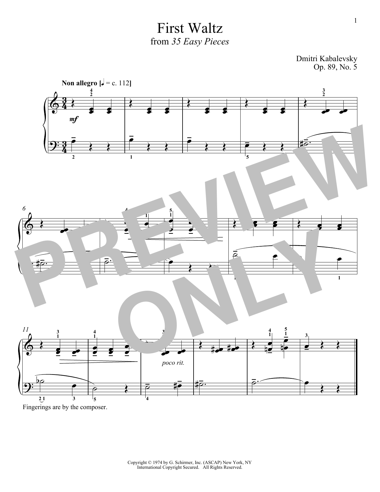 Download Dmitri Kabalevsky 'First Waltz' Digital Sheet Music Notes & Chords and start playing in minutes