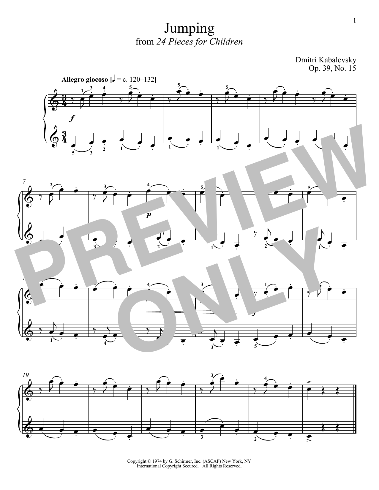 Download Dmitri Kabalevsky 'Jumping, Op. 39, No. 15' Digital Sheet Music Notes & Chords and start playing in minutes