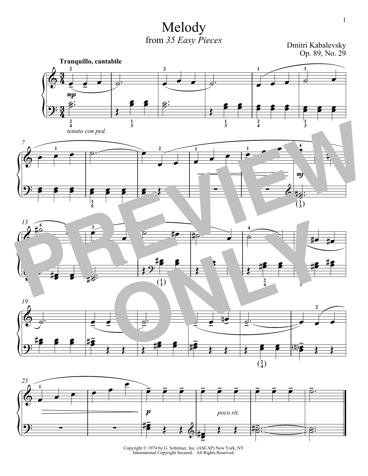 Download Dmitri Kabalevsky 'Melody, Op. 89, No. 29' Digital Sheet Music Notes & Chords and start playing in minutes