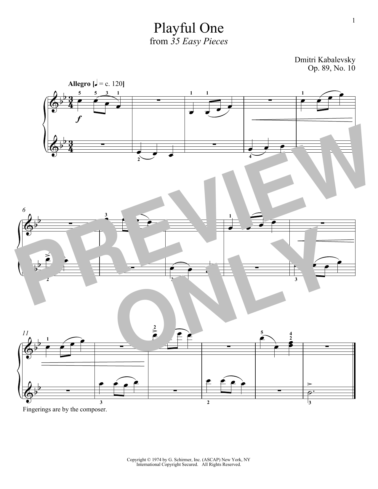 Download Dmitri Kabalevsky 'Playful One, Op. 89, No. 10' Digital Sheet Music Notes & Chords and start playing in minutes