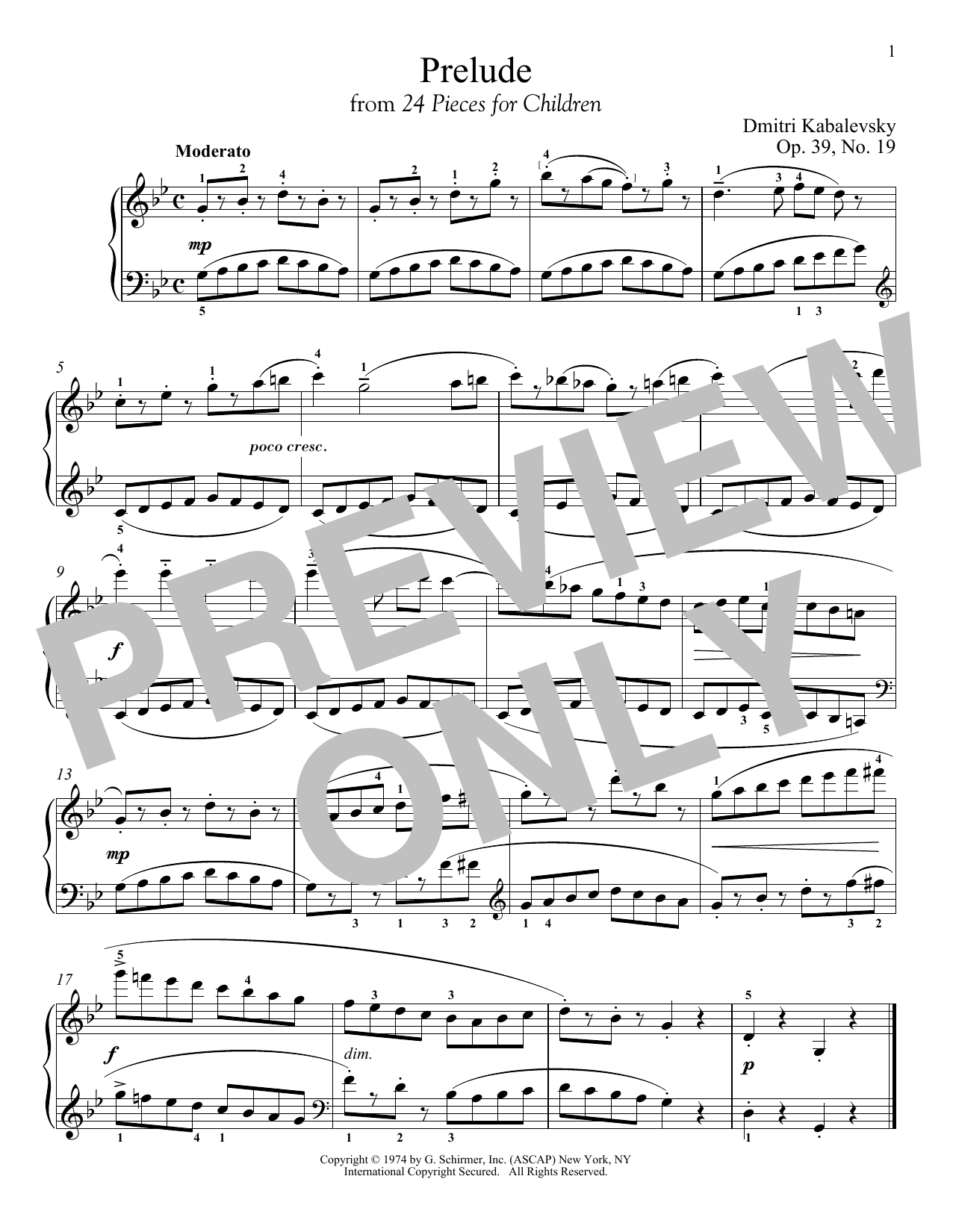 Download Dmitri Kabalevsky 'Prelude, Op. 39, No. 19' Digital Sheet Music Notes & Chords and start playing in minutes