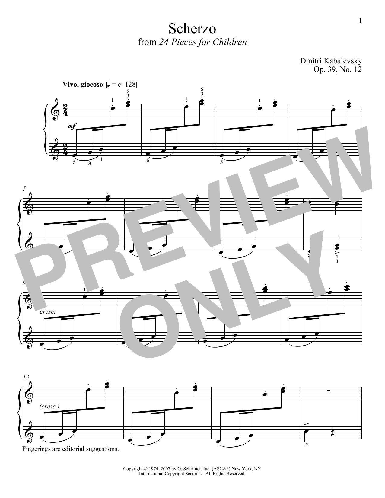 Download Dmitri Kabalevsky 'Scherzo, Op. 39, No. 12' Digital Sheet Music Notes & Chords and start playing in minutes