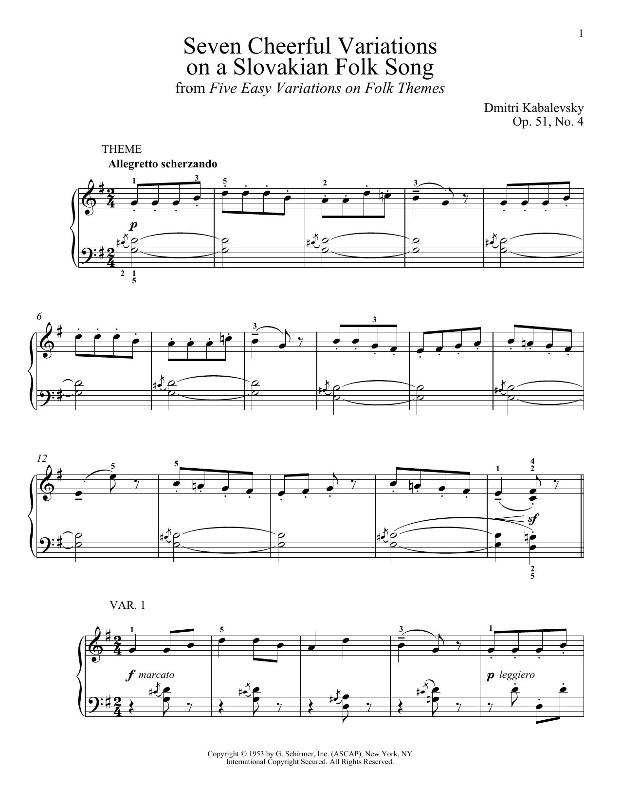 Download Dmitri Kabalevsky 'Seven Cheerful Variations On A Slovakian Folk Song, Op. 51, No. 4' Digital Sheet Music Notes & Chords and start playing in minutes