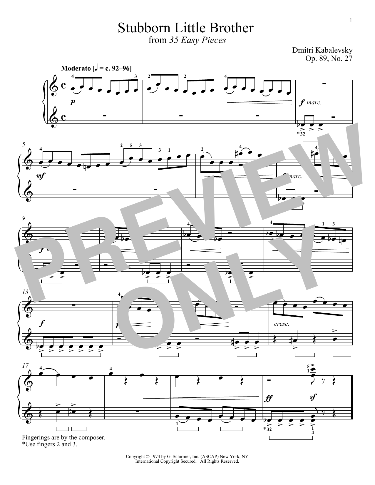 Download Dmitri Kabalevsky 'Stubborn Little Brother, Op. 89, No. 27' Digital Sheet Music Notes & Chords and start playing in minutes