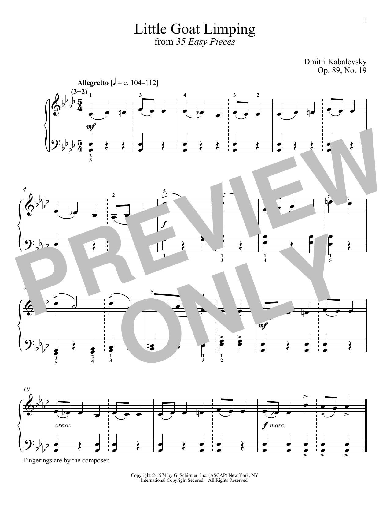 Download Dmitri Kabalevsky 'The Little Goat Limping, Op. 89, No. 19' Digital Sheet Music Notes & Chords and start playing in minutes