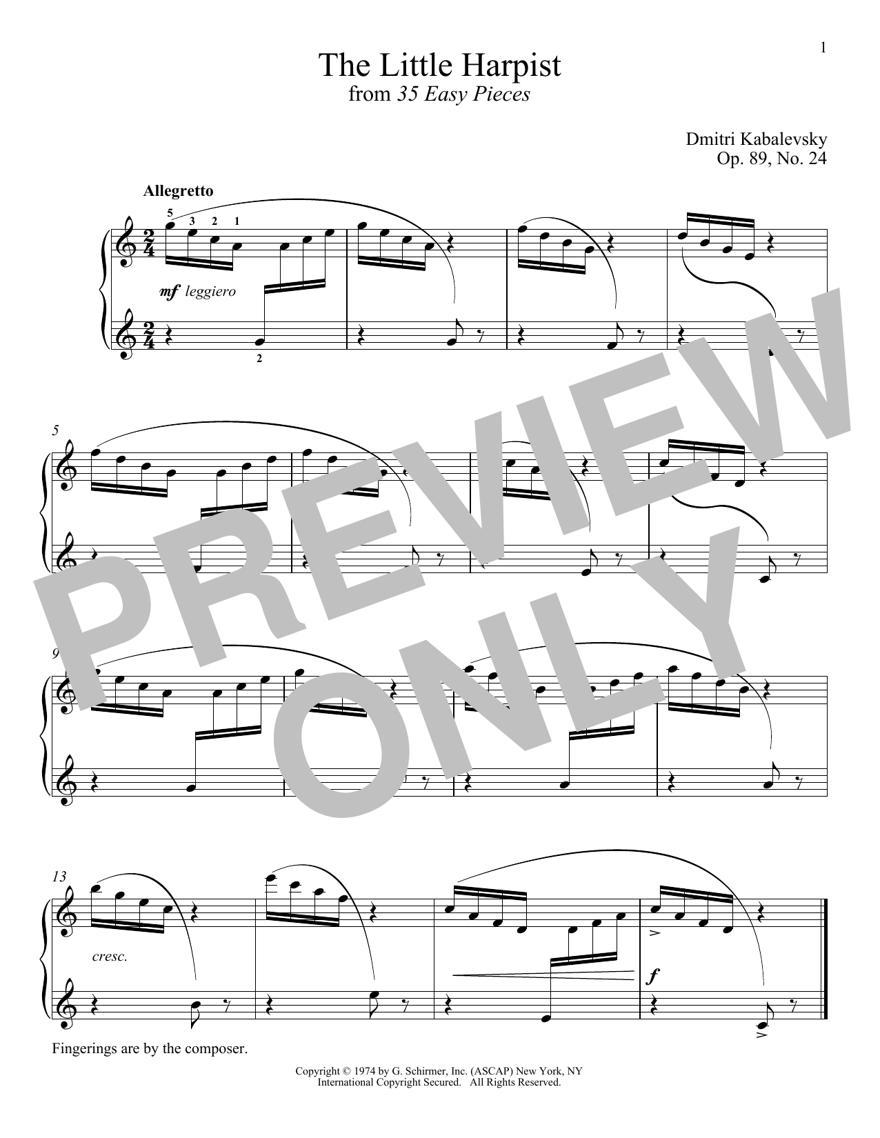 Download Dmitri Kabalevsky 'The Little Harpist, Op. 89, No. 24' Digital Sheet Music Notes & Chords and start playing in minutes
