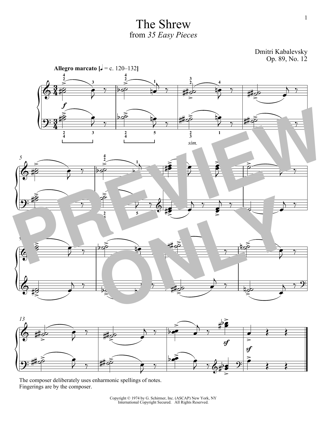 Download Dmitri Kabalevsky 'The Shrew, Op. 89, No. 12' Digital Sheet Music Notes & Chords and start playing in minutes