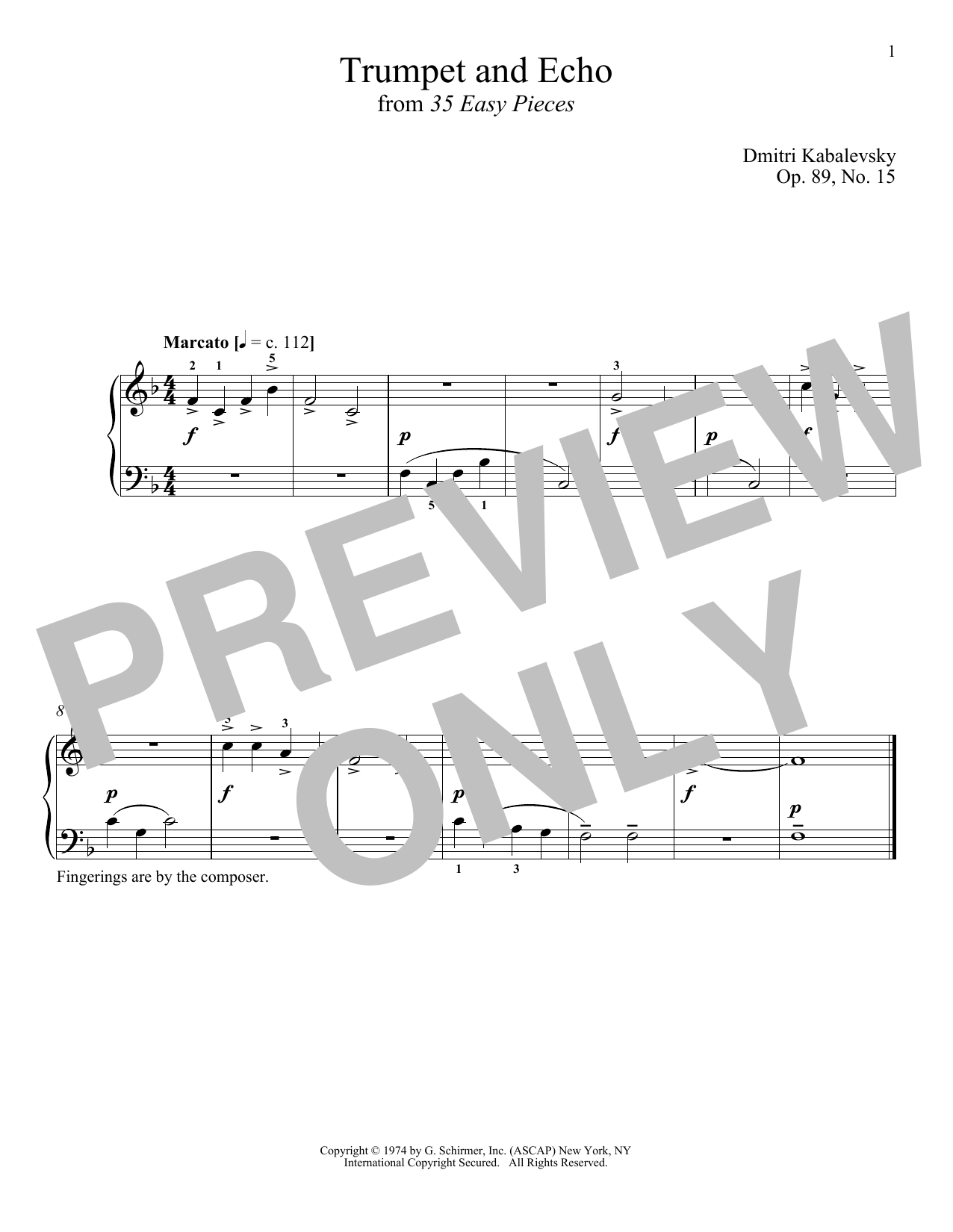 Download Dmitri Kabalevsky 'Trumpet And Echo, Op. 89, No. 15' Digital Sheet Music Notes & Chords and start playing in minutes