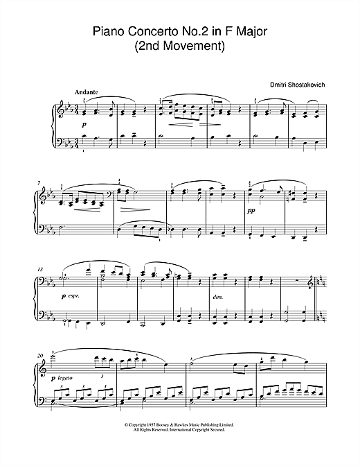 Download Dmitri Shostakovich 'Piano Concerto No. 2 in F Major (2nd Movement)' Digital Sheet Music Notes & Chords and start playing in minutes
