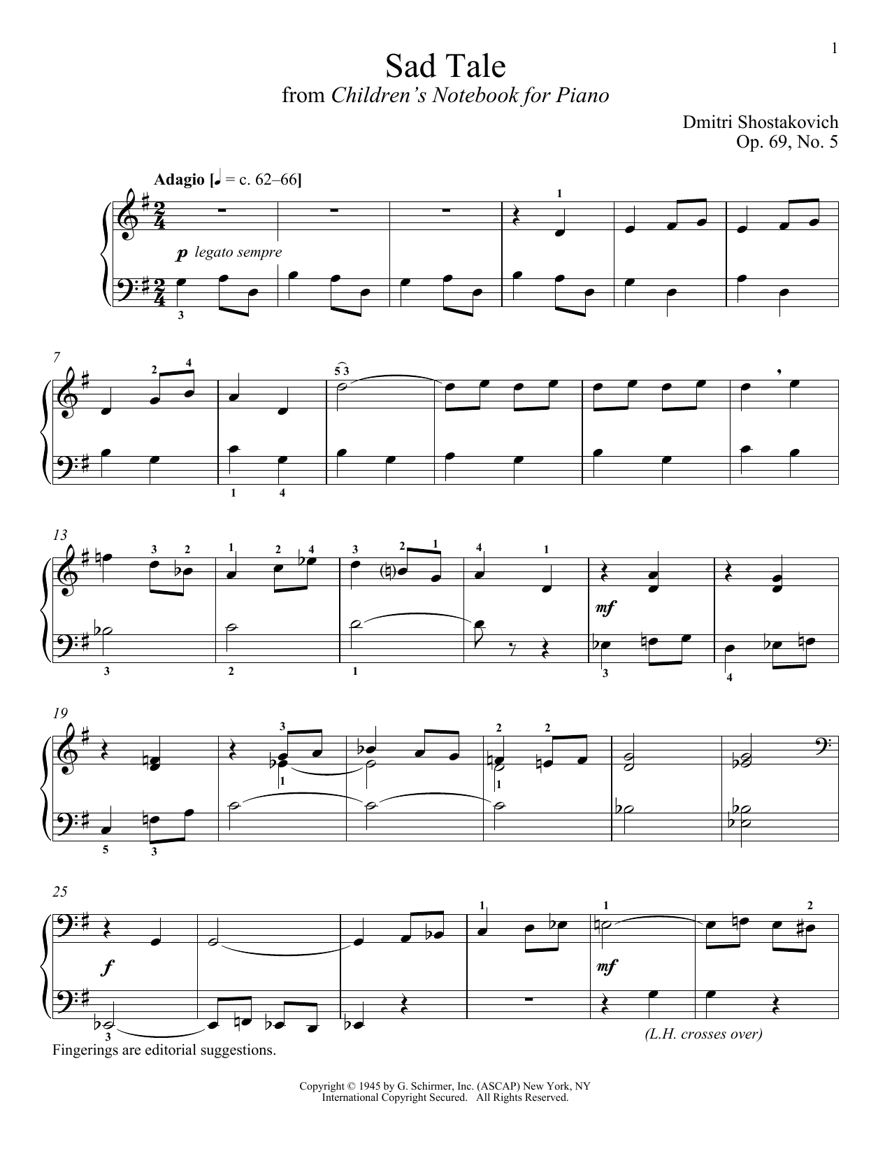 Download Dmitri Shostakovich 'Sad Tale' Digital Sheet Music Notes & Chords and start playing in minutes