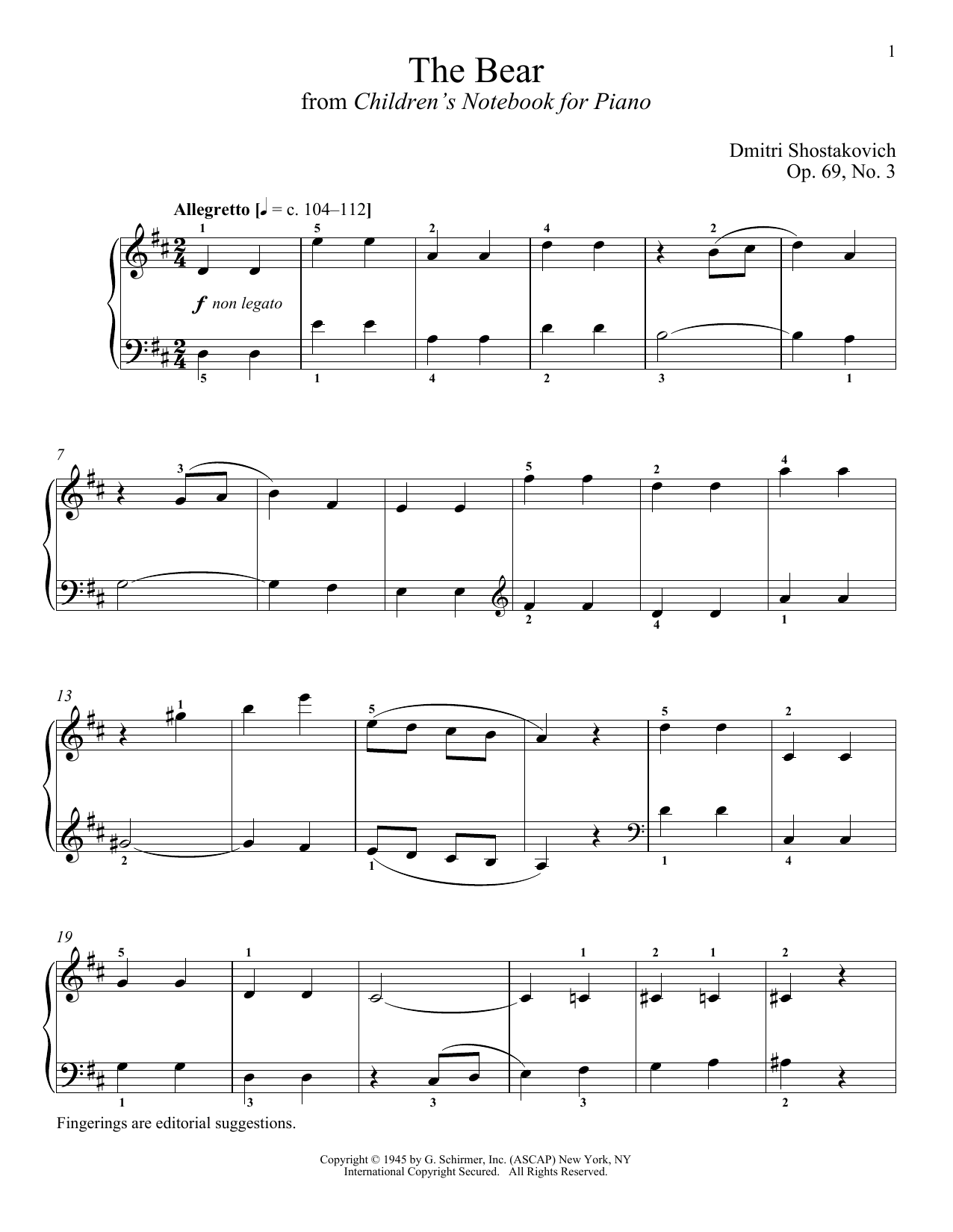 Download Dmitri Shostakovich 'The Bear' Digital Sheet Music Notes & Chords and start playing in minutes