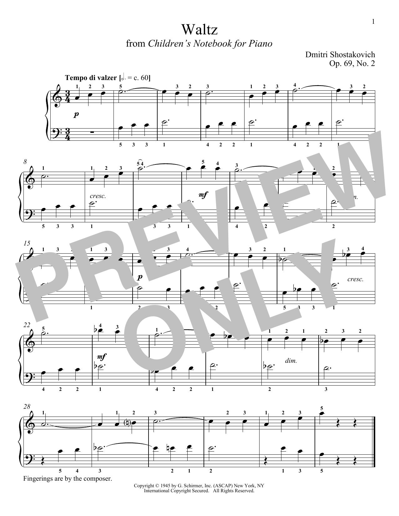 Download Dmitri Shostakovich 'Waltz, Op. 69, No. 2' Digital Sheet Music Notes & Chords and start playing in minutes