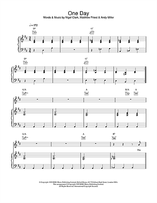Dodgy One Day sheet music notes and chords