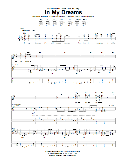 Dokken In My Dreams sheet music preview music notes and score for Guitar Tab including 7 page(s)