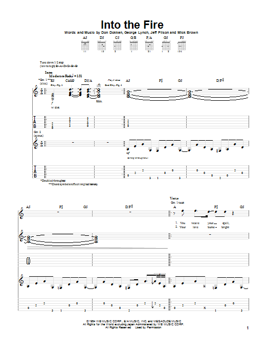 Dokken Into The Fire sheet music preview music notes and score for Guitar Tab including 8 page(s)