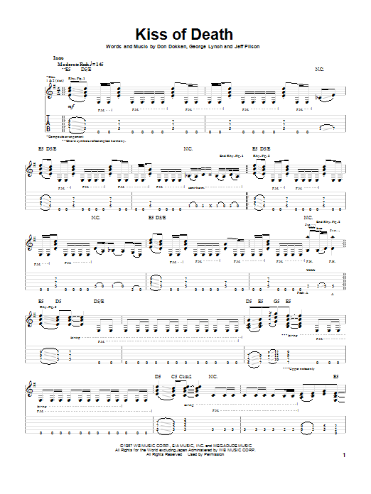 Dokken Kiss Of Death sheet music preview music notes and score for Guitar Tab including 11 page(s)