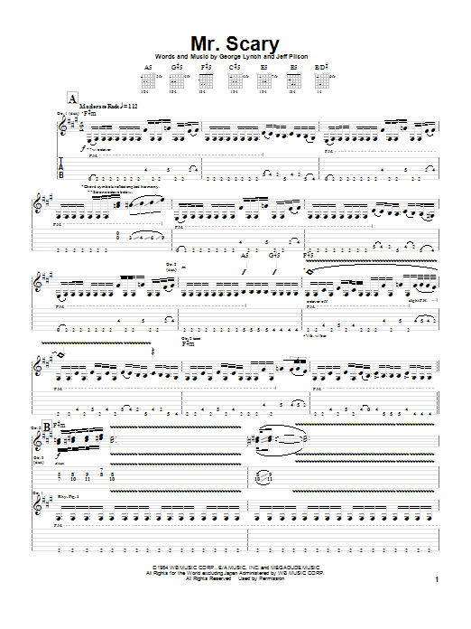 Dokken Mr. Scary sheet music preview music notes and score for Guitar Tab including 11 page(s)