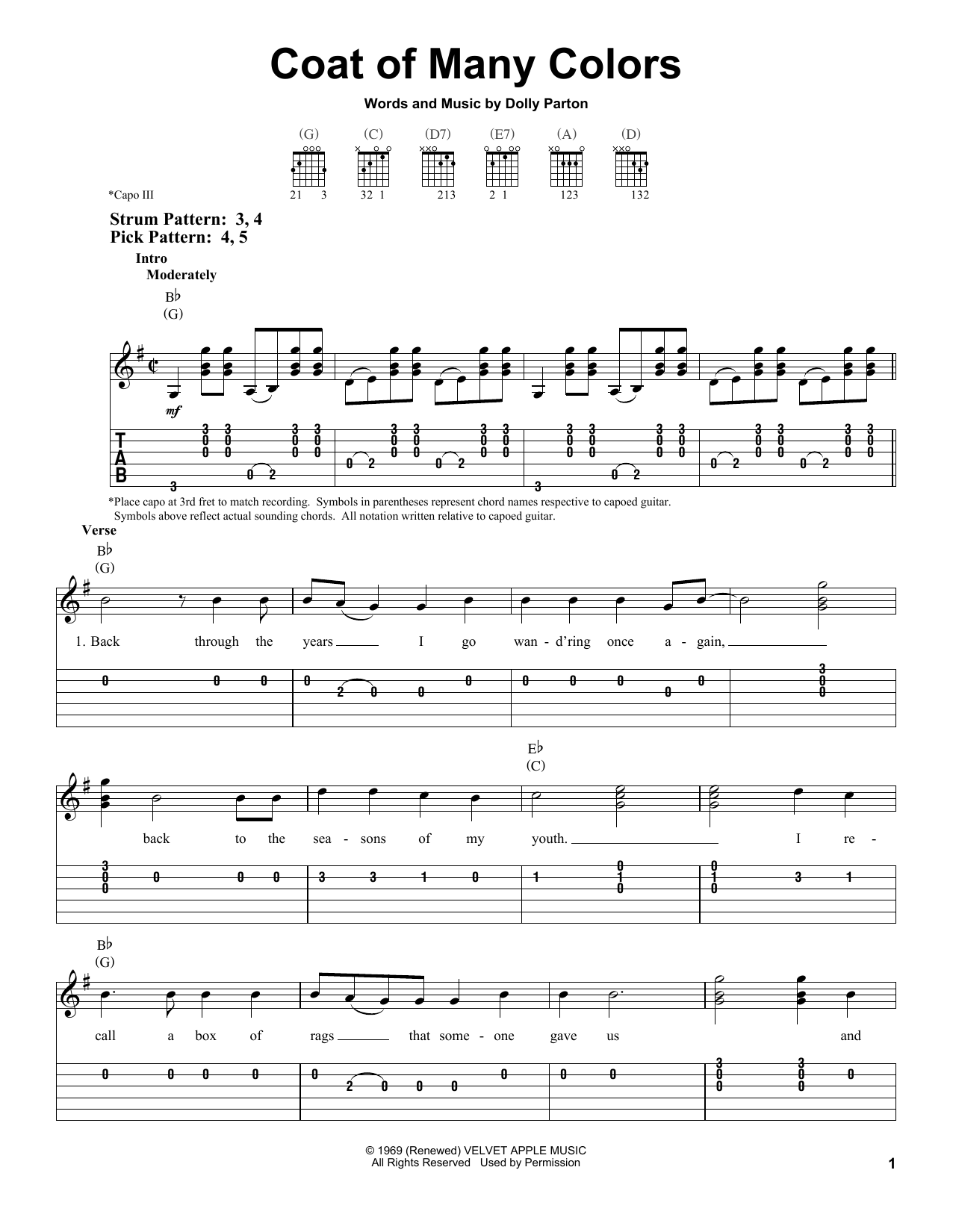 Dolly Parton Coat Of Many Colors sheet music preview music notes and score for Easy Guitar Tab including 5 page(s)