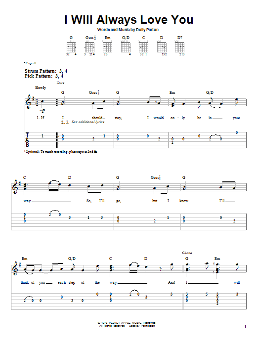 Download Dolly Parton 'I Will Always Love You' Digital Sheet Music Notes & Chords and start playing in minutes