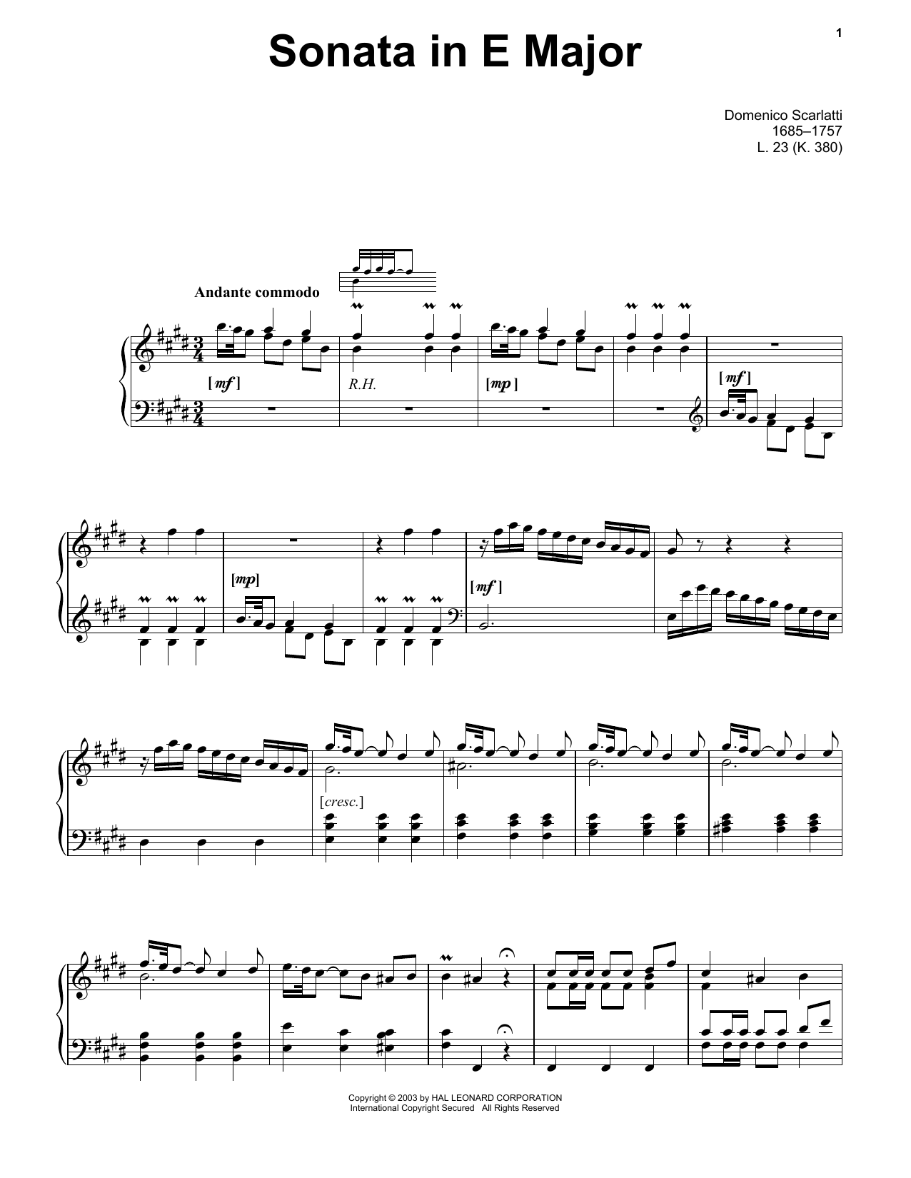 Download Domenico Scarlatti 'Sonata In E Major, L. 23' Digital Sheet Music Notes & Chords and start playing in minutes
