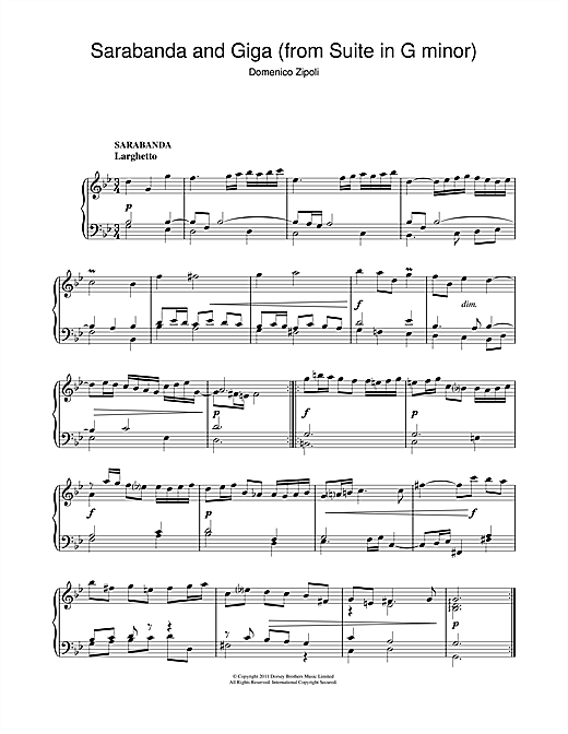 Download Domenico Zipoli 'Sarabanda And Giga (From The Suite In G Minor)' Digital Sheet Music Notes & Chords and start playing in minutes