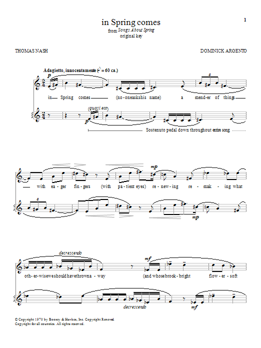 Download Dominick Argento 'in Spring comes' Digital Sheet Music Notes & Chords and start playing in minutes