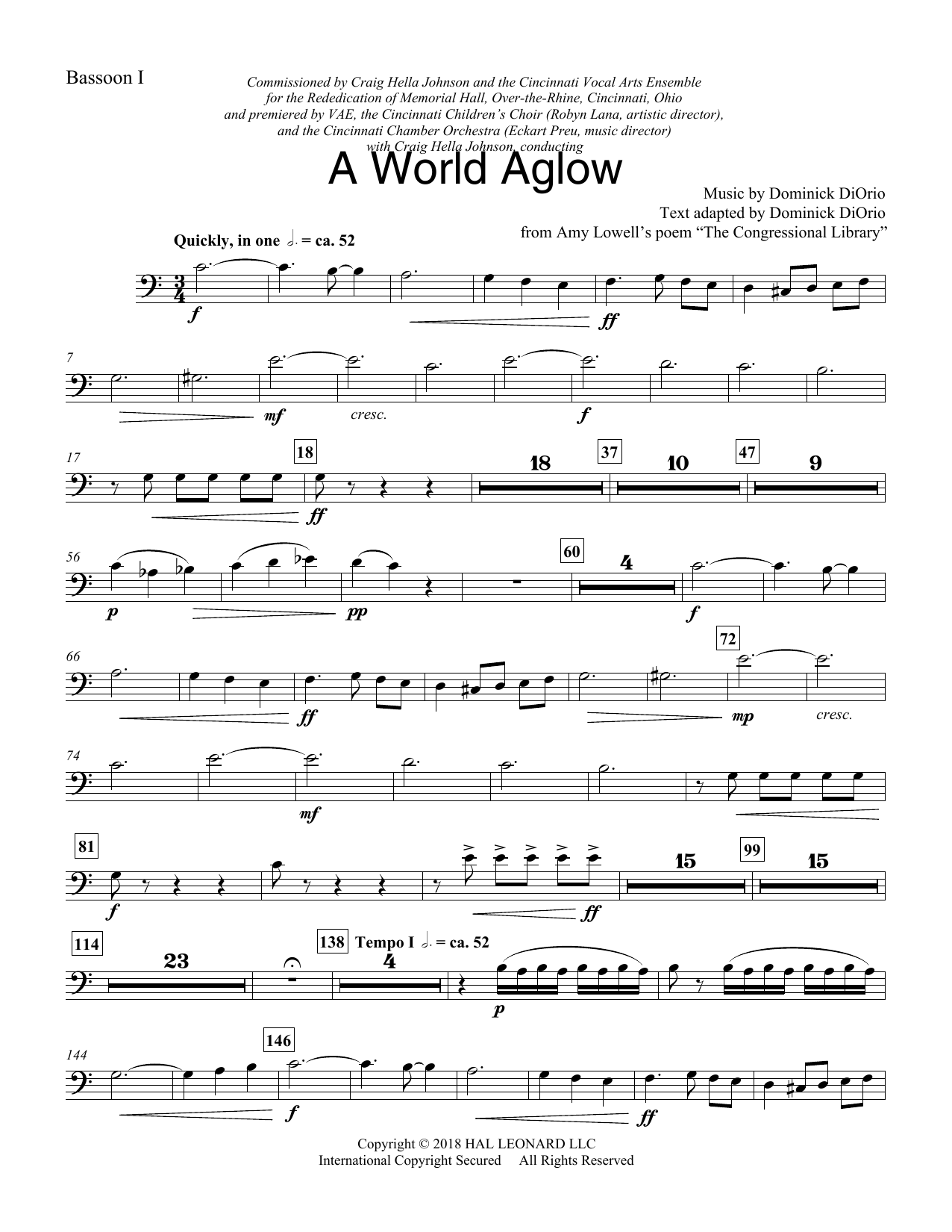 Dominick DiOrio A World Aglow - Bassoon 1 sheet music preview music notes and score for Choir Instrumental Pak including 2 page(s)